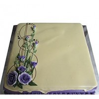 Welldeco Ribbon Cake With Flowers