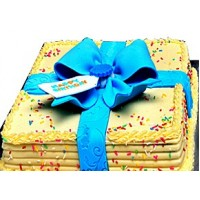 Happy Birthday Ribbon Cake - Blue