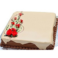 Welldeco Chocolate Cake With Flowers