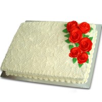 Decorated Ribbon Cake with Red Roses