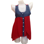 Sleeveless Blouse in Red and Blue