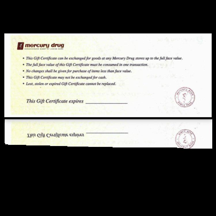 Mercury Drug Gift Certificate